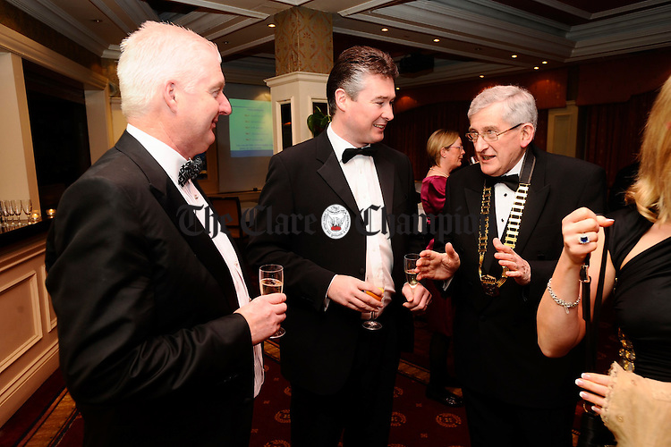 Noel Connellan, former Chamber president,  Sean Lyne and president Michael Evans at the Ennis Chamber annual Dinner in the Old Ground hotel. Photograph by John Kelly.