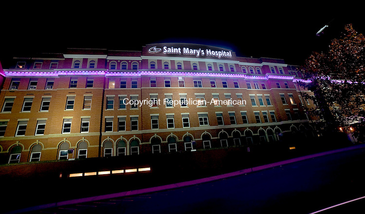 WATERBURY, CT--- -102215JS03---In recognition of October being Breast Cancer Awareness Month, Saint Mary's Hospital in Waterbury has changed their outside light pink. Saint Mary's Hospital will be hosting a Saint Mary's Shares Answers forum about cancer, cancer prevention and treatment on Wednesday, October 28 at the Country Club of Waterbury from 5:15 PM to 8:00 PM The even tif free, but pre-registration is required. Contact Kathryn Walker at 203-709-3312  for more information. <br /> Jim Shannon Republican-American