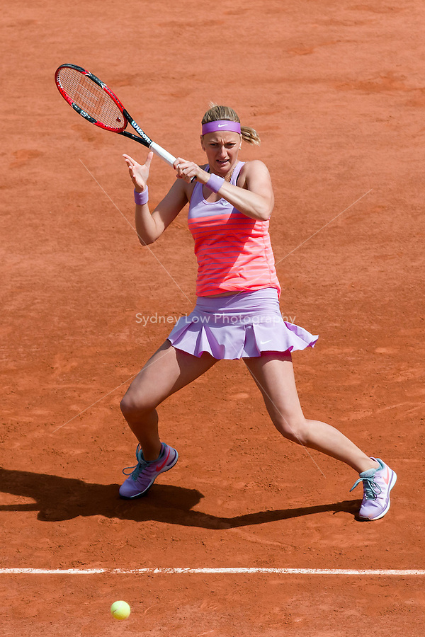May 30, 2015: Petra KVITOVA of Czech Republic in action in a 3rd round match against Irina-Camelia BEGU of Romania on day seven of the 2015 French Open tennis tournament at Roland Garros in Paris, France. KVITOVA won 63 62. Sydney Low/AsteriskImages