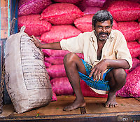 Dambulla vegetable market, portrait of a worker, Dambulla, Central Province, Sri Lanka, Asia. This is a portrait of a worker at Dambulla vegetable market, Dambulla, Central Province, Sri Lanka, Asia.