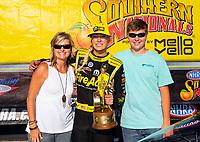 May 6, 2018; Commerce, GA, USA; NHRA top fuel driver Leah Pritchett celebrates after winning the Southern Nationals at Atlanta Dragway. Mandatory Credit: Mark J. Rebilas-USA TODAY Sports