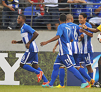 Andy Najar (14) of Honduras celebrates his score with teammates.  Honduras defeated Costa Rica 1-0 at the quaterfinal game of the Concacaf Gold Cup, M&T Stadium, Sunday July 21 , 2013.