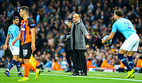 Manchester City manager Josep Guardiola reacts from the touchline<br /> <br /> Photographer Alex Dodd/CameraSport<br /> <br /> UEFA Champions League Group F - Manchester City v Shakhtar Donetsk - Wednesday 7th November 2018 - City of Manchester Stadium - Manchester<br />  <br /> World Copyright © 2018 CameraSport. All rights reserved. 43 Linden Ave. Countesthorpe. Leicester. England. LE8 5PG - Tel: +44 (0) 116 277 4147 - admin@camerasport.com - www.camerasport.com