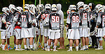 GER - Hannover, Germany, May 30: During the Men Lacrosse Playoffs 2015 match between HLC Rot-Weiss Muenchen (blue) and KKHT Schwarz-Weiss Koeln (weiss) on May 30, 2015 at Deutscher Hockey-Club Hannover e.V. in Hannover, Germany. Final score 5:6. (Photo by Dirk Markgraf / www.265-images.com) *** Local caption ***