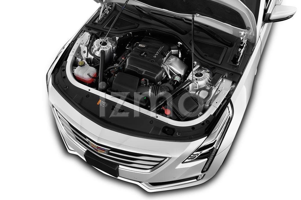 Car Stock 2017 Cadillac CT6 RWD 4 Door Sedan Engine  high angle detail view