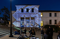 Oxy Arts and CDLA present Rustle and Cry, the Ettinger Projected Poetry and Art Project, opening reception on May 2, 2019, on the steps and courtyard between Fowler and Johnson Halls.<br /> Rustle and Cry, by Hana S. Kim, is a site-specific video art installation that is projected onto the facades of the Fowler and Johnson buildings and can be viewed nightly from the courtyard. The installation is conceived in collaboration with Visiting Professor Camilla Taylor's ARTS228 | Book Arts: The Hand Printed Book class and presented in conjunction with a limited edition collaborative art book.<br /> (Photo by Marc Campos, Occidental College Photographer)