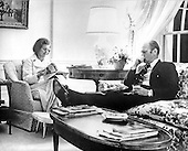 United States President Gerald R. Ford, sitting in the family living quarters at the White House in Washington, D.C., ponders the worsening crisis in Vietnam on April 28, 1975.  First lady Betty Ford keeps him company.  That evening, President Ford ordered the complete evacuation of all Americans from Vietnam.<br /> Mandatory Credit: David Hume Kennerly / White House via CNP