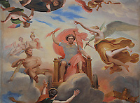 Fresco of the Apotheosis of Alexander, painted 19th century under Louis-Philippe, from the ceiling of the Bedchamber of the Duchesse d'Estampes or the King's staircase, Chateau de Fontainebleau, France. The Palace of Fontainebleau is one of the largest French royal palaces and was begun in the early 16th century for Francois I. It was listed as a UNESCO World Heritage Site in 1981. Picture by Manuel Cohen