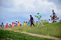 Rickie Fowler (USA) and Jamie Lovemark (USA) depart the 10th tee during Saturday's round 3 of the 117th U.S. Open, at Erin Hills, Erin, Wisconsin. 6/17/2017.<br /> Picture: Golffile | Ken Murray<br /> <br /> <br /> All photo usage must carry mandatory copyright credit (&copy; Golffile | Ken Murray)