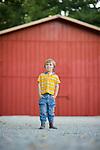 Small boy child in farm fashion