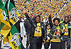 Johannesburg, South Africa: 04.05.2014: ANC ELECTION RALLY<br /> ANC Deputy President Cyri Ramaphosa, ANC Deputy Secretary General Jessie Duarte, ANC Chairperson Baleka Mbete and ANC Treasurer General Zweli Mkhize attend the ANC Siyanqob pre-election Rally held at the FNB Stadium, Johannesburg.<br /> An estimated 94,000 people turned up at Johannesburg's FNB stadium to give the ANC Party an overwhelming support and serve notice that the governing party is cruising to a fifth emphatic victory in a row in Wednesday's election. <br /> General elections in South Africa are contested between parties, not presidential candidates.<br /> Mandatory Credit Photo: &copy;GCIS/NEWSPIX INTERNATIONAL<br /> <br /> **ALL FEES PAYABLE TO: &quot;NEWSPIX INTERNATIONAL&quot;**<br /> <br /> IMMEDIATE CONFIRMATION OF USAGE REQUIRED:<br /> Newspix International, 31 Chinnery Hill, Bishop's Stortford, ENGLAND CM23 3PS<br /> Tel:+441279 324672  ; Fax: +441279656877<br /> Mobile:  07775681153<br /> e-mail: info@newspixinternational.co.uk