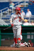 Auburn Doubledays right fielder Justin Connell (13) at bat during a game against the Batavia Muckdogs on September 2, 2018 at Dwyer Stadium in Batavia, New York.  Batavia defeated Auburn 5-4.  (Mike Janes/Four Seam Images)