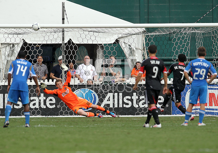 WASHINGTON, D.C. - AUGUST 19, 2012:  Dwayne DeRosario (7) of DC United re-takes and misses a penalty kick against the Philadelphia Union during an MLS match at RFK Stadium, in Washington DC, on August 19. The game ended in a 1-1 tie.