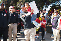 "STANFORD,CA-- November 23, 2013: David Shaw, head coach,during ""The Walk"" before the Stanford vs Cal game Saturday afternoon at Stanford Stadium.<br /> <br /> Stanford won 63-13."