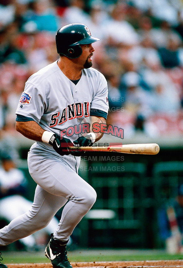 Ken Caminiti of the San Diego Padres during a game at Anaheim Stadium in Anaheim, California during the 1997 season.(Larry Goren/Four Seam Images)