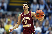 CHAPEL HILL, NC - FEBRUARY 1: Derryck Thornton #11 of Boston College runs the offense during a game between Boston College and North Carolina at Dean E. Smith Center on February 1, 2020 in Chapel Hill, North Carolina.