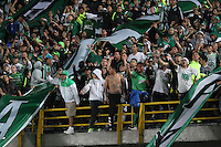 BOGOTA -COLOMBIA, 25-02-2017. Fans of Atletico Nacional cheer their team agaisnt of La Equidad.Action game between  La Equidad and Atletico Nacional during match for the date 5 of the Aguila League I 2017 played at Ne stadium . Photo:VizzorImage / Felipe Caicedo  / Staff