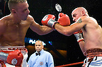 "The ""Reyes"" sticker on Bronco McKart 's left glove suddenly comes unglued and fly in the air during his 12 rounds NABF Middleweight Title  against Kelly Pavlik at the Mohegan Sun Arena on 07.27.06. Pavlik won by a 6th round knock out."