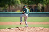 Oakland Athletics relief pitcher Brandon Withers (71) delivers a pitch during an Instructional League game against the Los Angeles Dodgers at Camelback Ranch on October 4, 2018 in Glendale, Arizona. (Zachary Lucy/Four Seam Images)