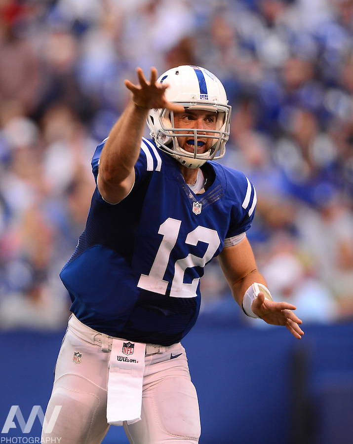Sep 28, 2014; Indianapolis, IN, USA; Indianapolis Colts quarterback Andrew Luck (12) against the Tennessee Titans at Lucas Oil Stadium. Mandatory Credit: Andrew Weber-USA TODAY Sports