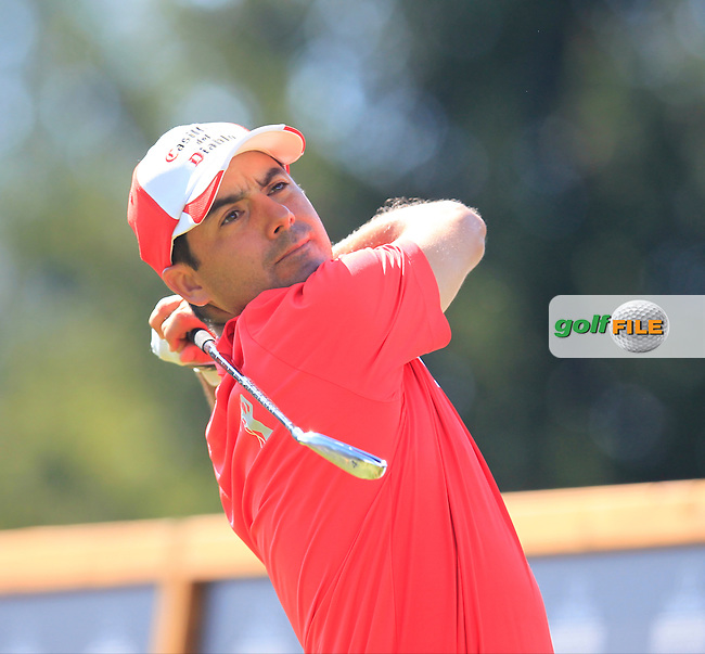 Felipe AGUILAR (CHI) tees off the 16th tee during Saturday's Round 3 of the 2014 Omega European Masters held at the Crans Montana Golf Club, Crans-sur-Sierre, Switzerland.: Picture Eoin Clarke, www.golffile.ie: 6th September 2014