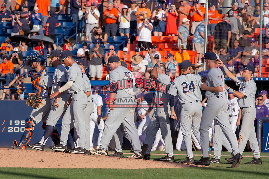 Cal State Fullerton Titans celebrate after winning Game 2 of the Super Regionals at Goodwin Field on June 09, 2018 in Fullerton, California. The Cal State Fullerton Titans defeated the University of Washington Huskies 5-2. (Donn Parris/Four Seam Images)