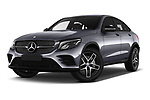Stock pictures of low aggressive front three quarter view of 2017 Mercedes Benz GLC-Coupe 220-D 5 Door SUV Low Aggressive