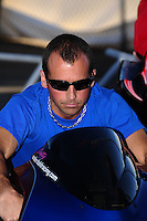 Nov 11, 2010; Pomona, CA, USA; NHRA pro stock motorcycle rider Jim Underdahl during qualifying for the Auto Club Finals at Auto Club Raceway at Pomona. Mandatory Credit: Mark J. Rebilas-