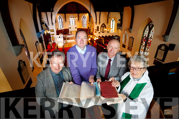 Pictured with sheet music which was returned to Saint John's Church Ashe Street, from left: Charlie Smith, Rev Jim Stephens, Martin Conway and Rev Phyllis Jones.
