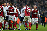 Players square up after Tottenham Hotspur vs Arsenal, Premier League Football at Wembley Stadium on 10th February 2018