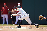 Drake Titus (4) of the Army Black Knights attempts to lay down a bunt against the North Carolina State Wolfpack at Doak Field at Dail Park on June 3, 2018 in Raleigh, North Carolina. The Wolfpack defeated the Black Knights 11-1. (Brian Westerholt/Four Seam Images)