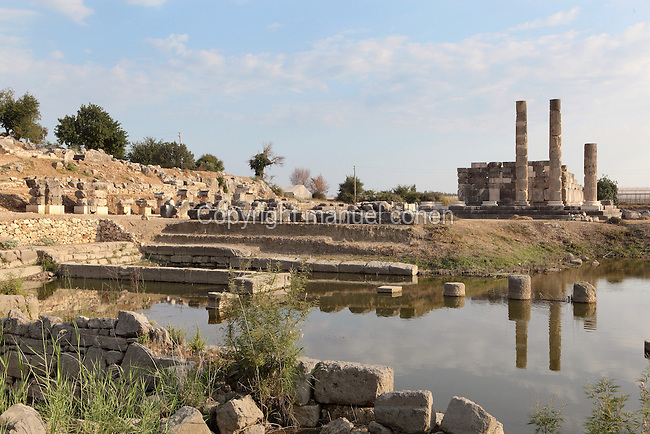 View of the Agora (left) and the Temple of Leto, built 3rd century BC, its columns reflected in a pool of flood water, Letoon, near Xanthos, Antalya, Turkey. This is the largest and best-preserved of the 3 temples on the site. It was built of very fine limestone, creating the illusion of marble. An ionic peripteros of 11x6 columns surrounded the cult room or cella, which was decorated with a Corinthian colonnade. The Letoon or Sanctuary of Leto was the sacred cult centre of Lycia, its most important sanctuary, and was dedicated to the 3 national deities of Lycia, Leto and her twin children Apollo and Artemis. Leto was also worshipped as a family deity and as the guardian of the tomb. The site is 10km South of the ancient city of Xanthos in Lycia, near the modern-day village of Kumluova, Fethiye. Founded in the 6th century BC, the Greek site also flourished throughout Roman times, and a church was built here in the Christian era. The site was abandoned in the 7th century AD. Picture by Manuel Cohen
