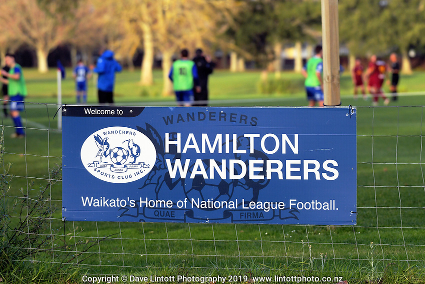 Action from the Lotto Northern Region Football League match between Hamilton Wanderers and North Shore United at Porritt Stadium in Hamilton, New Zealand on Saturday, 8 June 2019. Photo: Dave Lintott / lintottphoto.co.nz