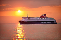 Hellenic Seaways Ferry arriving at sunset in Chios Island Greece