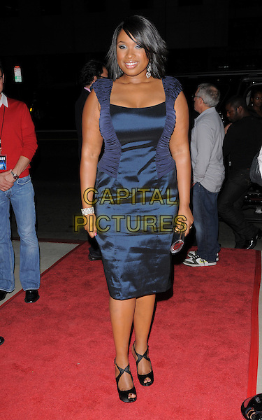 "JENNIFER HUDSON.The Fox Searchlight L.A. Premiere of ""The Secret Life of Bees"" held at The Academy of Motion Arts & Sciences in Beverly Hills, California, USA..October 6th, 2008.headshot portrait blue silk satin ruched dress .CAP/DVS.©Debbie VanStory/Capital Pictures."