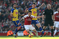 Lucas Torreira of Arsenal and Pierre-Emile Hojbjerg of Southampton during Arsenal vs Southampton, Premier League Football at the Emirates Stadium on 24th February 2019