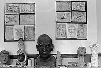 Bust of A.S.Neill, Art room, Summerhill school, Leiston, Suffolk, UK. 1968.
