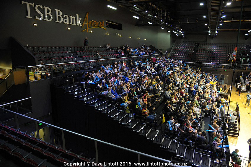 Fans watch the ANZ Championship netball match between the Central Pulse and Waikato Bay Of Plenty Magic at TSB Bank Arena, Wellington, New Zealand on Monday, 4 April 2016. Photo: Dave Lintott / lintottphoto.co.nz