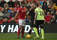 Nottingham Forest's El Arbi Soudani and Sheffield United's Kieron Freeman<br /> <br /> Photographer Rachel Holborn/CameraSport<br /> <br /> The EFL Sky Bet Championship - Nottingham Forest v Sheffield United - Saturday 3rd November 2018 - The City Ground - Nottingham<br /> <br /> World Copyright &copy; 2018 CameraSport. All rights reserved. 43 Linden Ave. Countesthorpe. Leicester. England. LE8 5PG - Tel: +44 (0) 116 277 4147 - admin@camerasport.com - www.camerasport.com