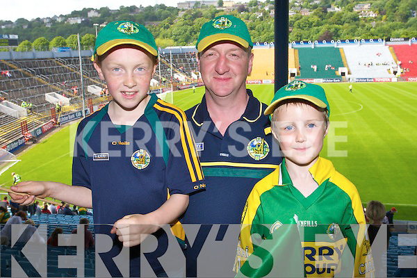 Donal Hurley, John and Conor Horgan from Gneeveguilla and Killarney at the Kerry v Cork Munster Semi Final Replay at Pairc Ui Caoimh on Saturday.