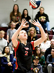 NAUGATUCK, CT-111617JS12- Cheshire's Mia Juodaitis (2) sets the ball during their Class LL semi final game against Amity Wednesday at Naugatuck High School. <br /> Jim Shannon Republican-American