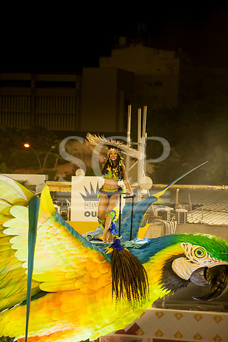 Imperatriz Leopolinense Samba School, Carnival, Rio de Janeiro, Brazil, 26th February 2017. Samba dancer on the top of the Giant Caiman float, dancing on a huge blue and yellow macaw.