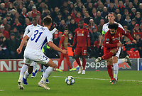5th November 2019; Anfield, Liverpool, Merseyside, England; UEFA Champions League Football, Liverpool versus Genk; Mohammed Salah of Liverpool shoots at goal as Joakim Maehle of KRC Genk attempts to block
