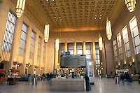 train station, Amtrak, Philadelphia, Pennsylvania, PA, Inside the ornate lobby of 30th Street Station in downtown Philadelphia.