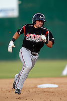 Robert Kral #14 of the Lake Elsinore Storm runs the bases during a game against the Inland Empire 66'ers at San Manuel Stadium on June 23, 2013 in San Bernardino, California. Lake Elsinore defeated Inland Empire, 6-2. (Larry Goren/Four Seam Images)