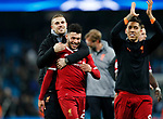 Liverpool's Jordan Henderson and Alex Oxlade-Chamberlain celebrate at the final whistle during the Champions League Quarter Final 2nd Leg match at the Etihad Stadium, Manchester. Picture date: 10th April 2018. Picture credit should read: David Klein/Sportimage