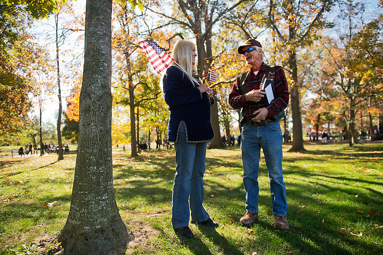 UNITED STATES - NOVEMBER 01: Marine Corps Vietnam veteran George McAdoo and his girlfriend Rae McKinney hang out at the Vietnam Veterans Memorial on Veterans Day. (Photo By Tom Williams/CQ Roll Call)