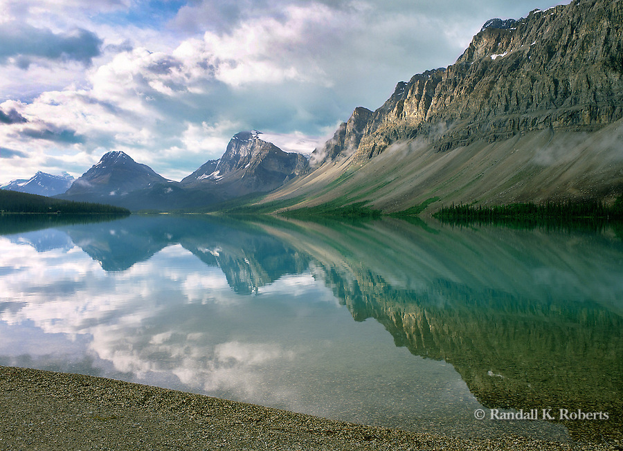Bow Lake reflection, Banff National Park, Alberta, Canada