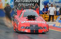 Jan 23, 2009; Chandler, AZ, USA; NHRA funny car driver Bob Tasca III launches during testing at the National Time Trials at Firebird International Raceway. Mandatory Credit: Mark J. Rebilas-