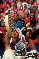 Tlingit and Haida dancers gather for a parade through downtown Juneau, Alaska, as part of Celebration, a three-day gathering every other year to promote their northern-Pacific cultures.
